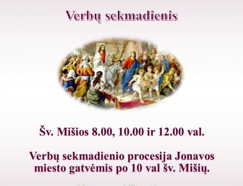 Kvietimas 2018 m. kovo 25 d. Verbų sekmadienis